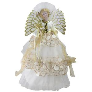Northlight Fiber Optic Angel Christmas Tree Topper - Cream/Gold