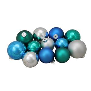 Northlight Glass Ball Christmas Ornaments - 72 Pieces - Blue/Silver
