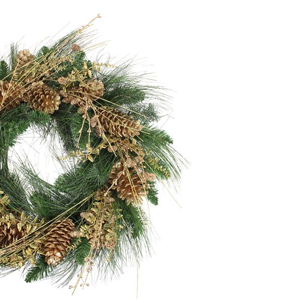 Allstate Gold Glitter Pine Cone and Berry Christmas Wreath - 26-in - Green