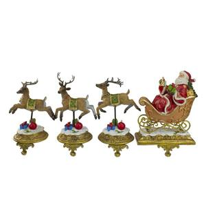Northlight Santa and Reindeer Christmas Stocking Holder - Set of 4 - 9.5-in