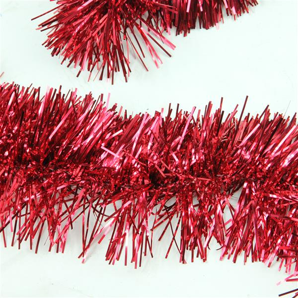 Northlight Festive Christmas Foil Tinsel Garland - 50-ft - Shiny Red