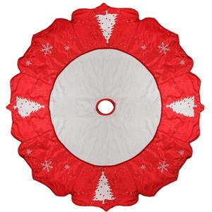 Tree and Snowflake Christmas Tree Skirt - 54-in -  Red/White