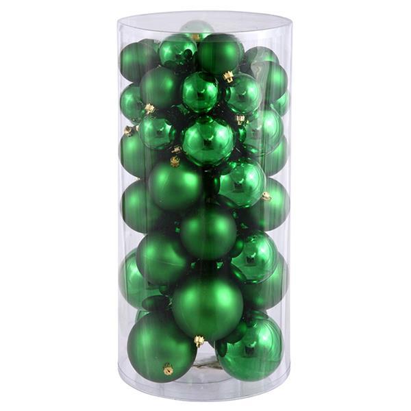 Vickerman Shiny and Matte Christmas Ball Ornaments - 50 Pieces - Green