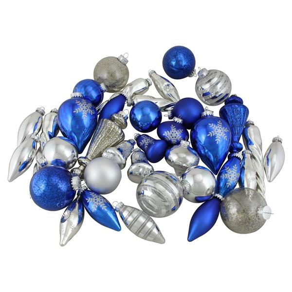 Northlight Asymmetrical Christmas Ornament Set - 36 Pieces - Blue/Silver