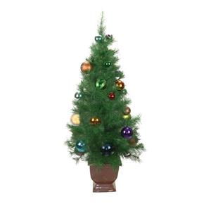 Northlight Potted Multicoloured Ball Ornament Christmas Tree - 4-ft - Green