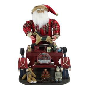 Northlight Retro-Style Santa Claus the Toy Maker with Work Station - 21-in