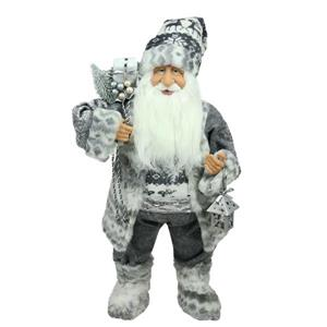 Northlight Santa Claus with a Bag and Lantern - 24-in - Gray/White