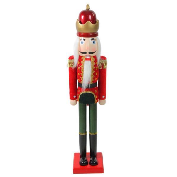 Northlight Velvet Wooden Christmas Nutcracker King - 36-in - Red/Green