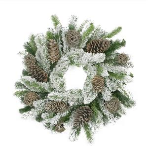 Allstate Flocked Pine Cone and Twig Ball Christmas Wreath - 24-in - Green