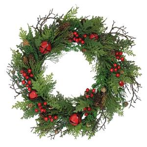 Northlight Jingle Bell Berry and Pine Cone Christmas Wreath - 24-in - Red