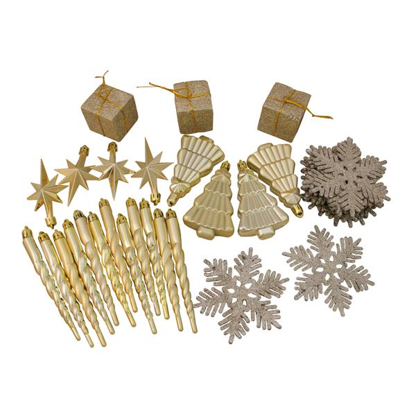 Northlight Shatterproof Christmas Ornaments - 375 Pieces - Champagne Gold