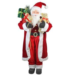 Northlight Santa Claus Christmas Figure with Teddy Bear and Gift Sack