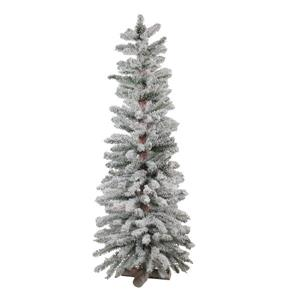 Northlight Heavily Flocked Artificial Alpine Christmas Tree - 4-ft - Green