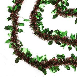Northlight Christmas Tinsel Garland with Holly - 50-ft - Red/Green