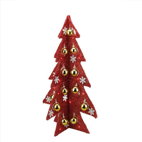 Northlight Tinsel Lighted Christmas Tree Table Top Décor - 28-in - Red