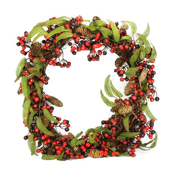 DAK Berry and Pine Cone Christmas Wreath - 24-in - Red/Black