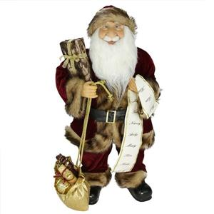 NorthlightSanta Claus Christmas Figure with Name List and Gift Bag - 24-in