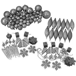 Northlight Shatterproof Christmas Ornament Set - 375 Pieces - Silver