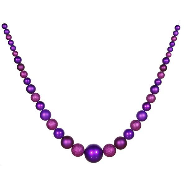 Vickerman Matte and Glitter Shatterproof Christmas Ball Garland - Purple