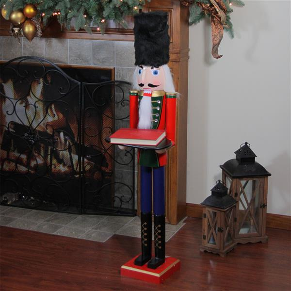 NorthlightWooden Christmas Butler Nutcracker with Tray - 48.25-in - Red