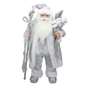 NorthlightSanta Claus with Staff and Gift Bag - 24-in - White/Silver