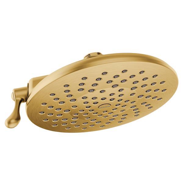 Moen 8-in Diameter Rainshower - Two Functions - Brushed Gold