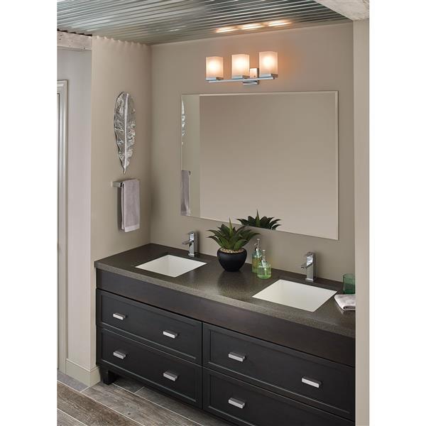 Lampe de salle de bain Moen 90 degrés, 3 lumières, chrome