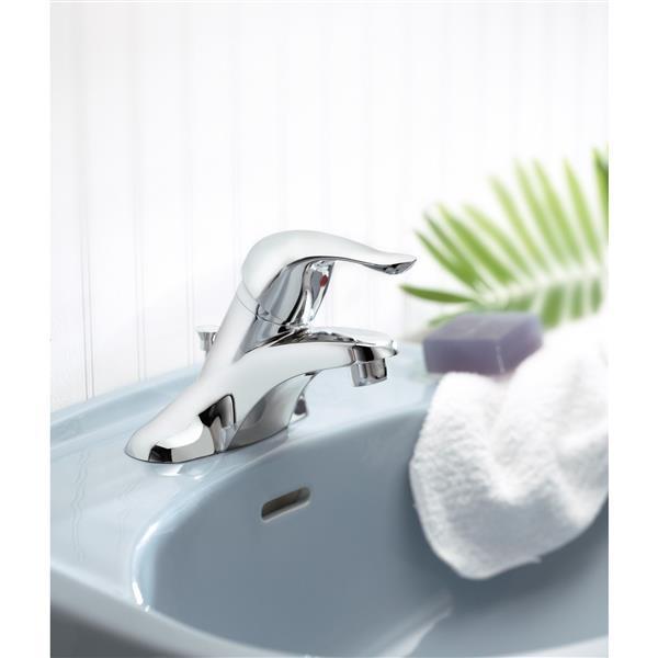 Robinet de salle de bain Moen Château avec drain, une poignée, chrome