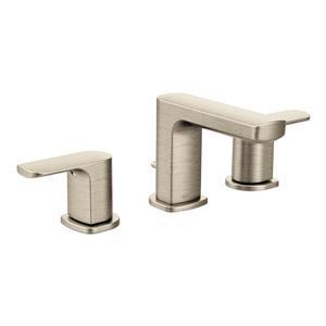 Robinet de salle de bains Rizon de Moen, 2 poignées, nickel brossé (valve vendue séparément)