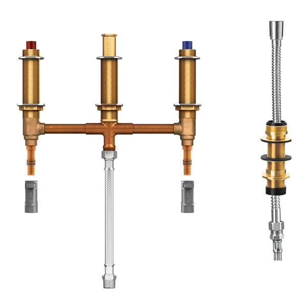Moen Valve System for Roman Bathtub - with Diverter - 10-in Center - 0.5-in PEX with 0.5-in CPVC Adapters