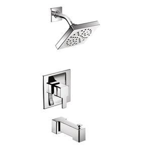 Garniture de robinetterie pour baignoire et douche 90 Degree de Moen, technologie PosiTemp, 1 poignée, chrome