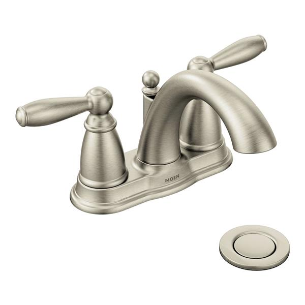 Moen Robinet de salle de bains Brantford de Moen, 2 poignées, drain en métal, nickel brossé 6610BN (QC-330698076) photo