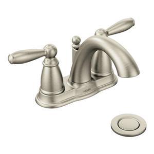 Robinet de salle de bains Brantford de Moen, 2 poignées, drain en métal, nickel brossé