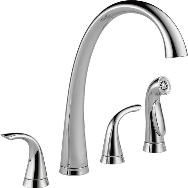 Delta Pilar 2-Handle Widespread Kitchen Faucet with Spray - Chrome
