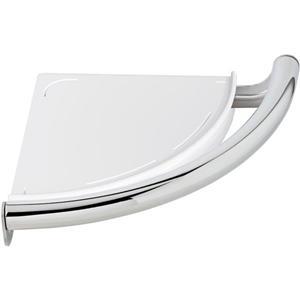 Tablette d'angle contemporaine avec barre d'appui de Delta, chrome