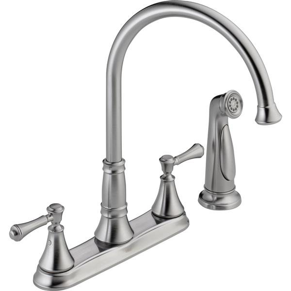 Delta Cassidy 2-Handle Kitchen Faucet with Spray - Arctic Stainless