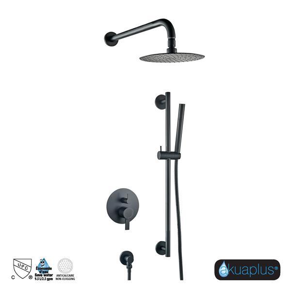 Akuaplus Elite Shower Faucet with Hand Shower and Sliding Rail - Black Matte