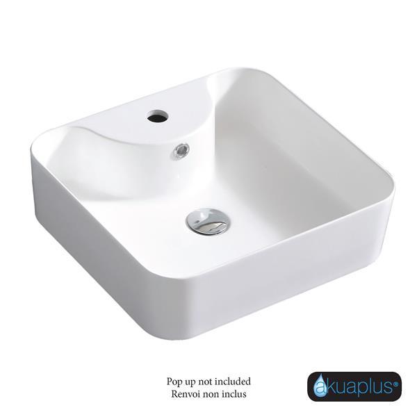Akuaplus Zira Cultured Marble Single Hole Sink - White