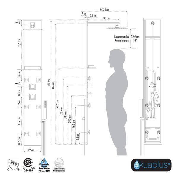 Akuaplus Zara Shower Panel - 6 Body Jets - Matte Black/Glass