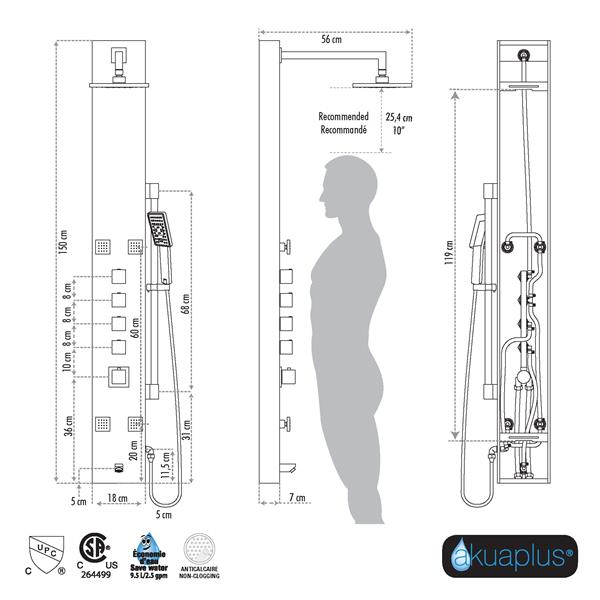 Akuaplus Nors Shower Panel - 4 Body Jets - Stainless Steel/Matte Black