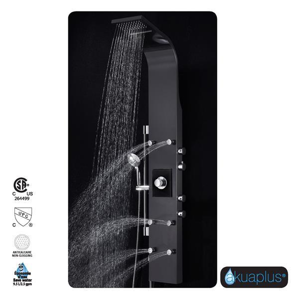 Akuaplus Ellie Shower Panel - 4 Body Jets - Stainless Steel/Matte Black