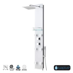 Akuaplus Zara Shower Panel - 6 Body Jets - White Tempered Glass
