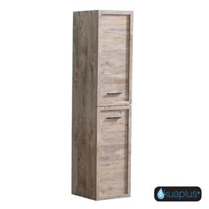 Akuaplus Zara Wall-Mounted 2-Door Linen Cabinet - 55-in x 15.75-in - Natural Wood