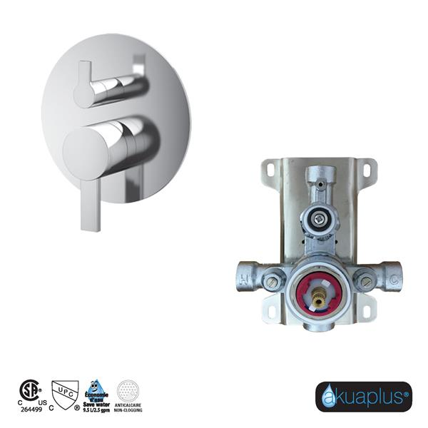 Akuaplus Elite Shower Faucet with Hand Shower and Sliding Rail - Chrome