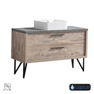 Meuble-Lavabo ZIRA à 2 tiroirs d'Akuaplus, lavabo simple blanc, fini bois naturel