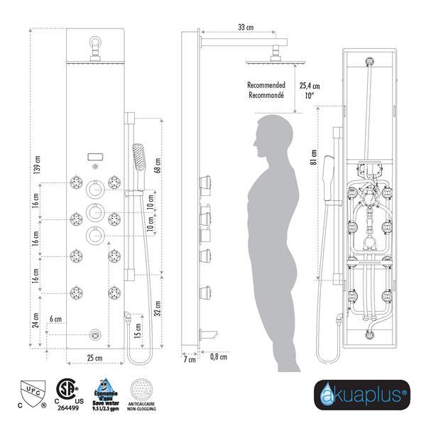 Akuaplus Tech Shower Panel - 8 Body Jets - Matte Black/Tempered Glass