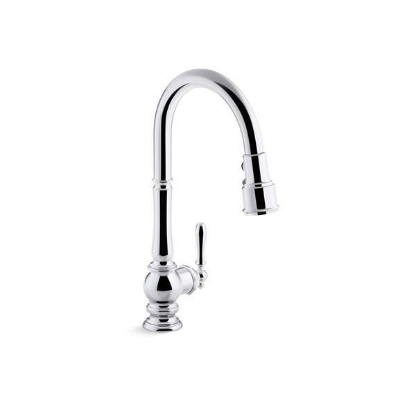 KOHLER Artifacts High-Arc Kitchen Sink Faucet - 1-Handle - Polished Chrome