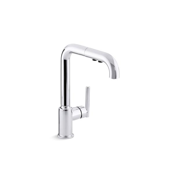 KOHLER Purist Pull-Out Kitchen Sink Faucet - 1-Handle - Polished Chrome