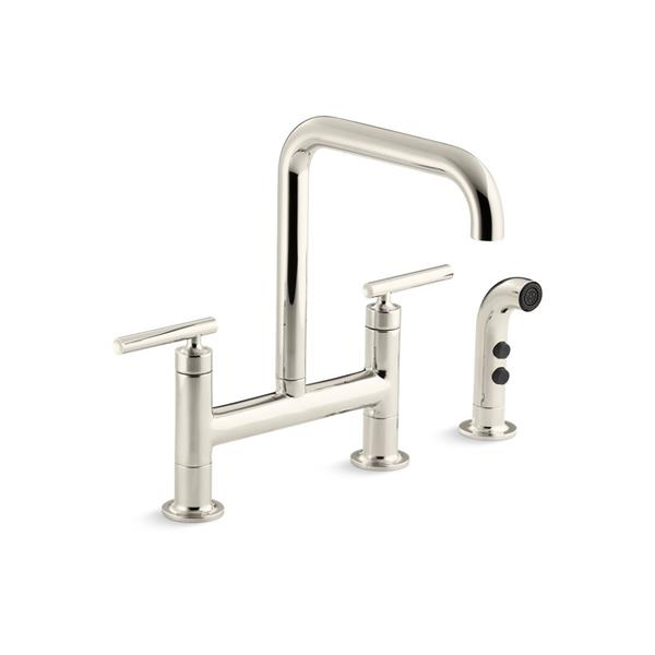 KOHLER Purist High-Arc Kitchen Sink Faucet - 2-Handle - Polished Nickel