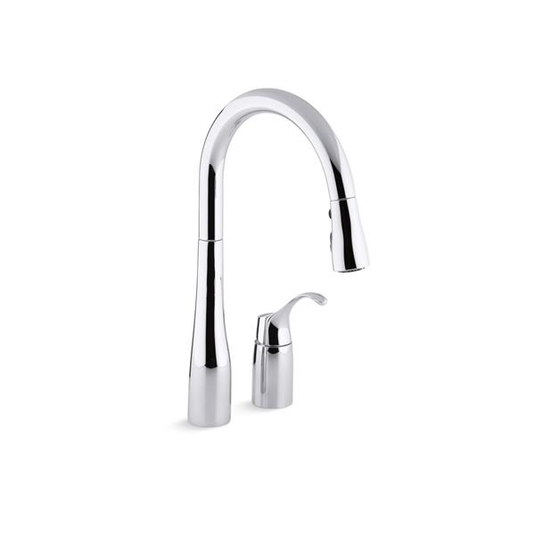 KOHLER Simplice Pull-Down Kitchen Sink Faucet - 1-Handle - Polished Chrome